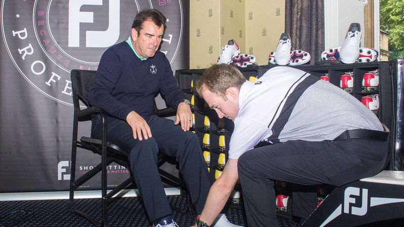 Team Gbi Captain Albert Mac Kenzie Undergoes Shoe Fitting For 1 Shoe In Golfu2019S D N A  Helix Ahead Of The 28Th Pga Cup