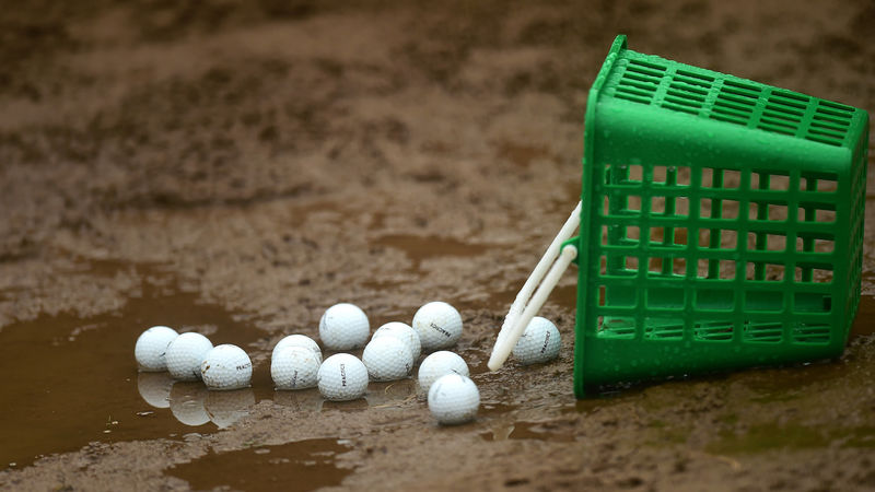 Golf Balls In Wet Bunker