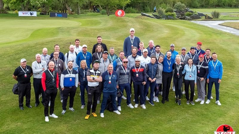Content Creators Gathered For A Photo Before The Golf Got Underway  Photo Credit @jasonlittlegolfphotography