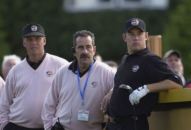 (L-R) Europe's Darren Clarke, European captain Sam Torrance and Lee Westwood