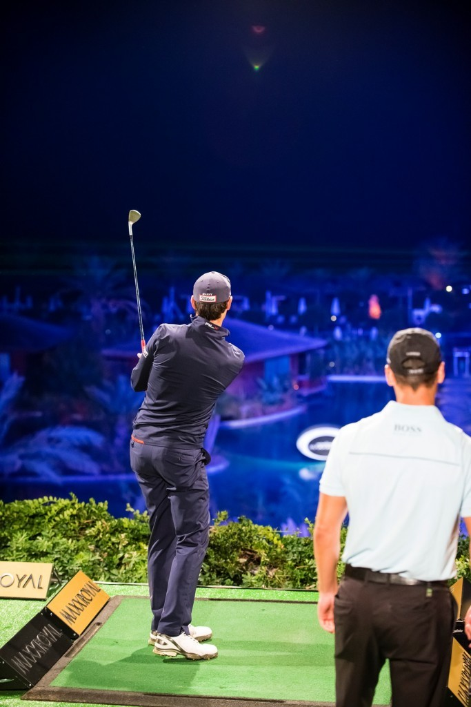 Matteo Manssero fires at the final target, 85 yards from the stage