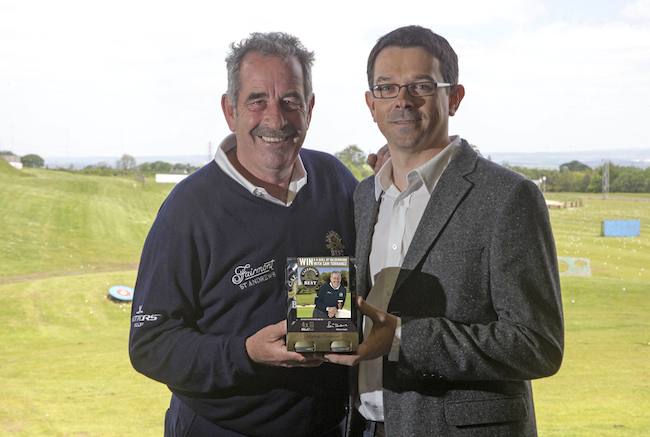 Sam is joined by Paul Condron, Marketing Director at C&C, to help launch Caledona Best's Golfing Heaven campaign (for back page of spread)