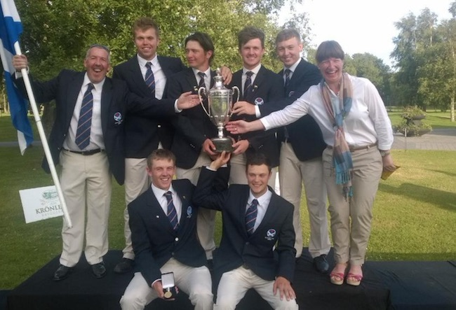 Forrest & McDonald (both kneeling) as part of Scotland's winning European Amateur Team Championship side.