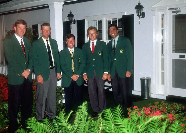 Past European winners of the Masters Nick Faldo (1989, 90, 96) of England, Sandy Lyle (1988) of Scotland, Ian Woosnam (1991) of Wales, Bernhard Langer (1985, 93) of Germany and Seve Ballesteros (1980, 83) of Spain