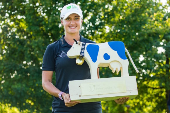 Amy Boulden With Swiss Open Trophy