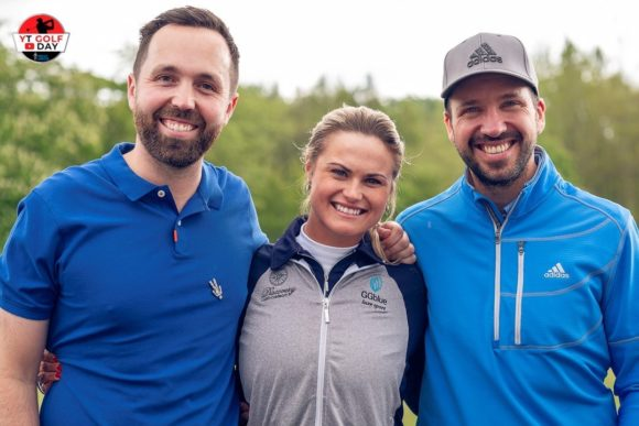Event Host Rick Shiels Poses With Ladies Tour Star Carly Booth And Fellow Online Personality Peter Finch  Photo Credit @jasonlittlegolfphotography