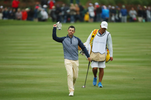 Rory Walk To 18 At Sawgrass