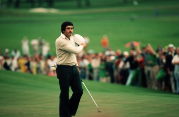 Seve Ballesteros Celebrating A Putt At The 1980 Masters