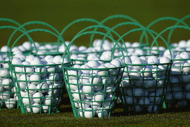 General view of a bucket of practice golf balls
