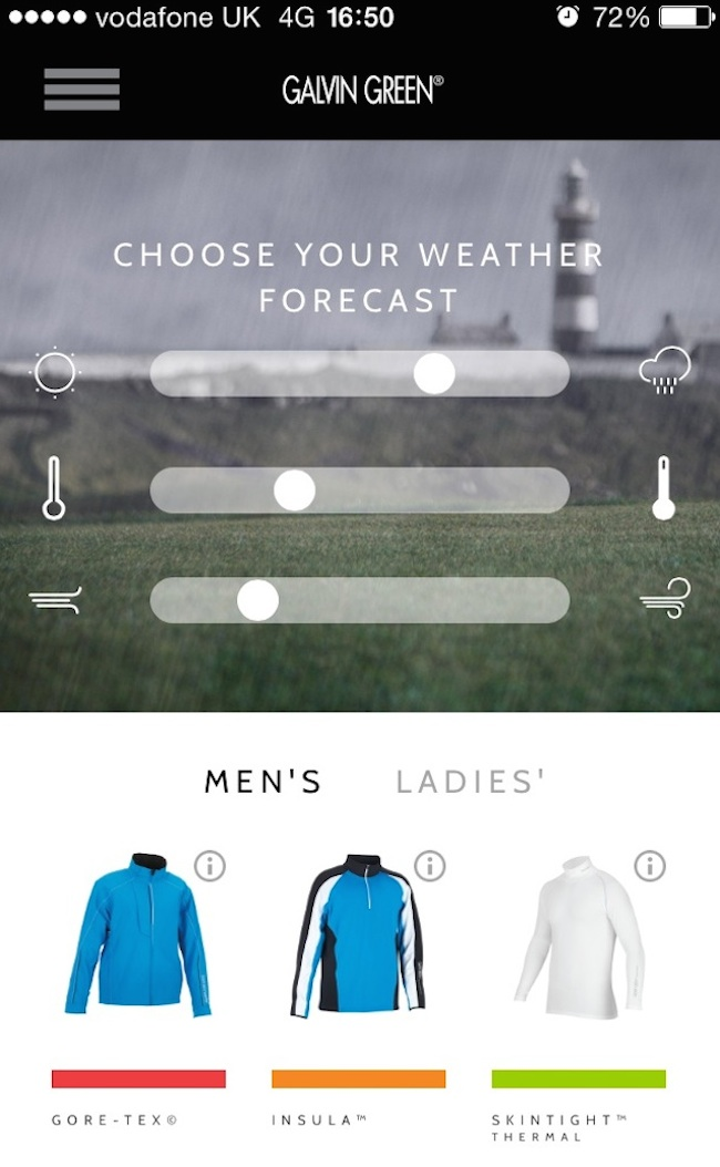 Galvin Green 'Dress for the Weather' app
